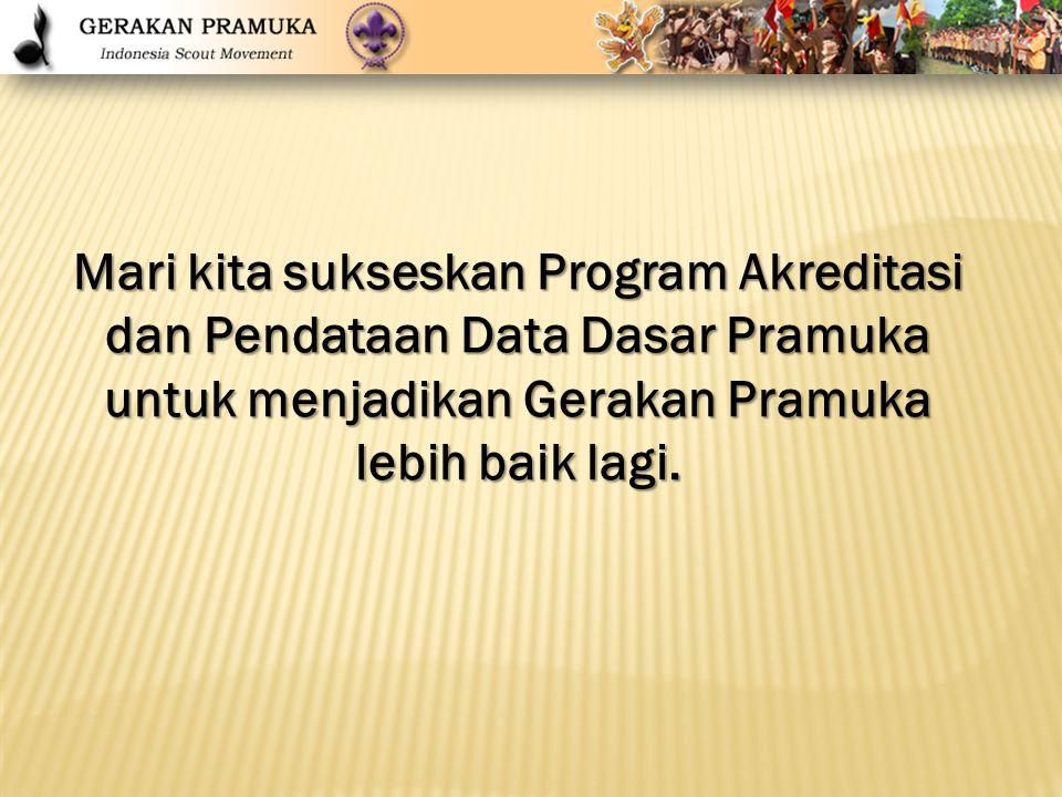 Mari kita sukseskan Program Akreditasi dan Pendataan Data Dasar Pramuka untuk menjadikan Gerakan Pramuka lebih baik lagi.