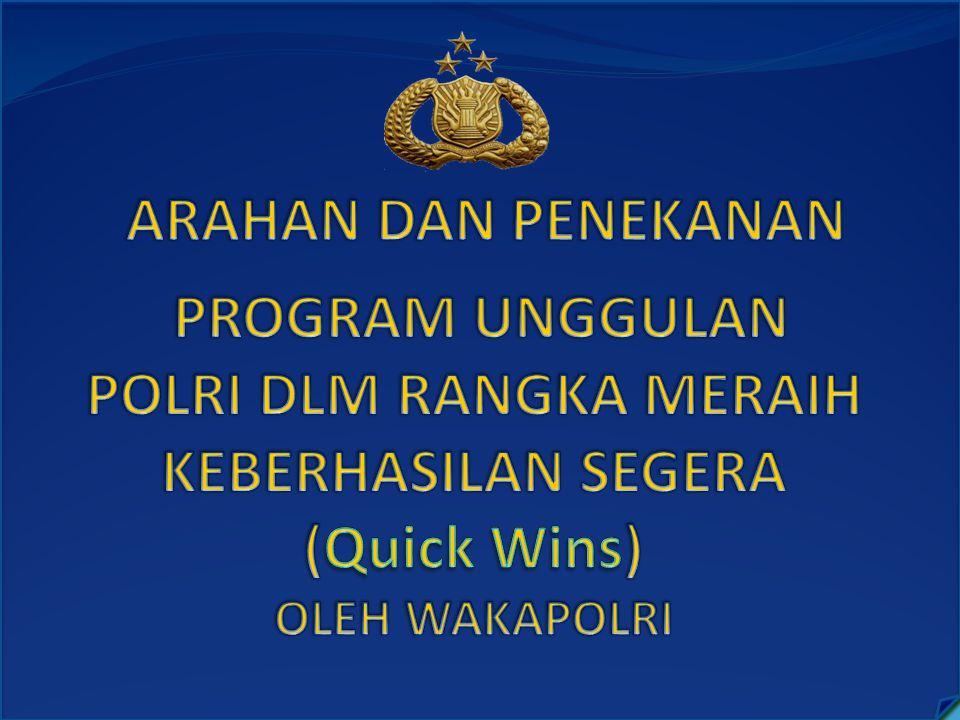 ARAHAN DAN PENEKANAN PROGRAM UNGGULAN POLRI DLM RANGKA MERAIH KEBERHASILAN SEGERA (Quick Wins) OLEH WAKAPOLRI.