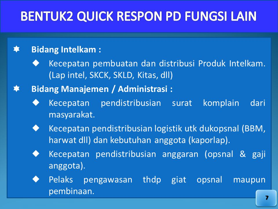 BENTUK2 QUICK RESPON PD FUNGSI LAIN
