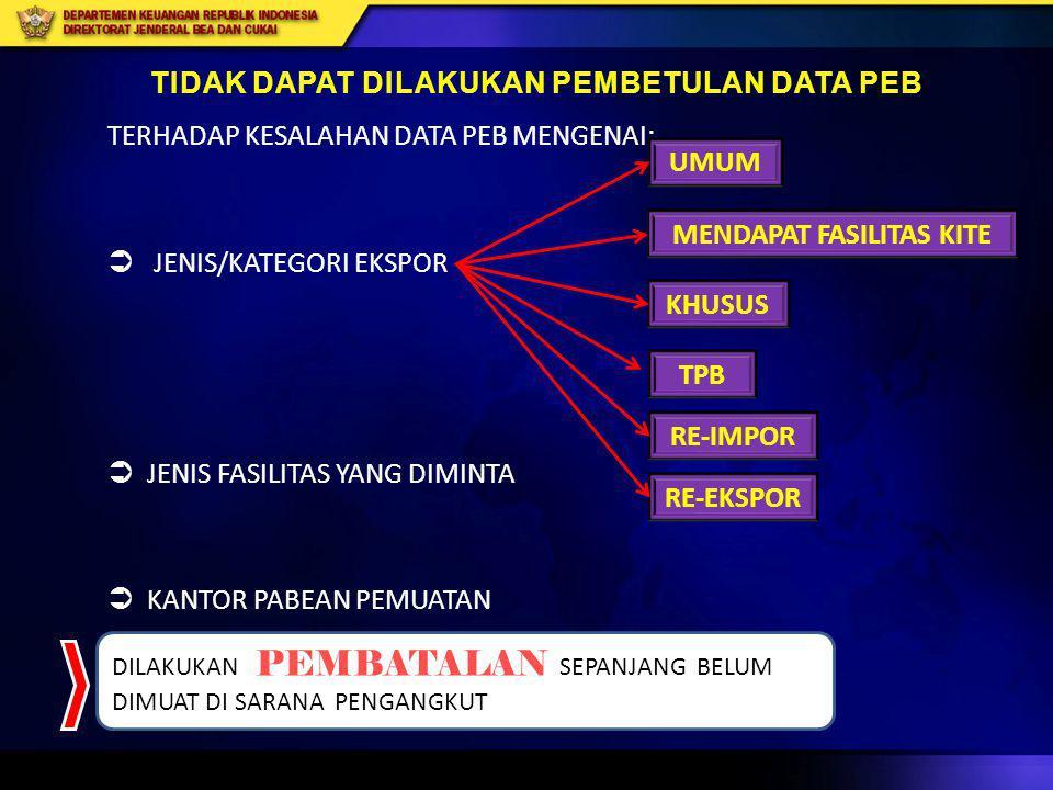 TIDAK DAPAT DILAKUKAN PEMBETULAN DATA PEB MENDAPAT FASILITAS KITE