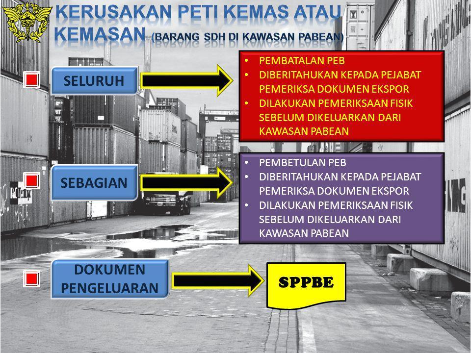 Kerusakan peti kemas atau kemasan (barang sdh di kawasan pabean)