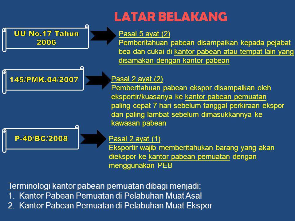 LATAR BELAKANG Terminologi kantor pabean pemuatan dibagi menjadi: