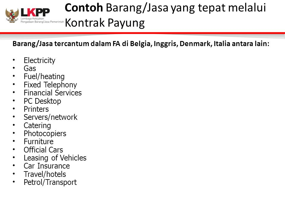 Contoh Barang/Jasa yang tepat melalui Kontrak Payung