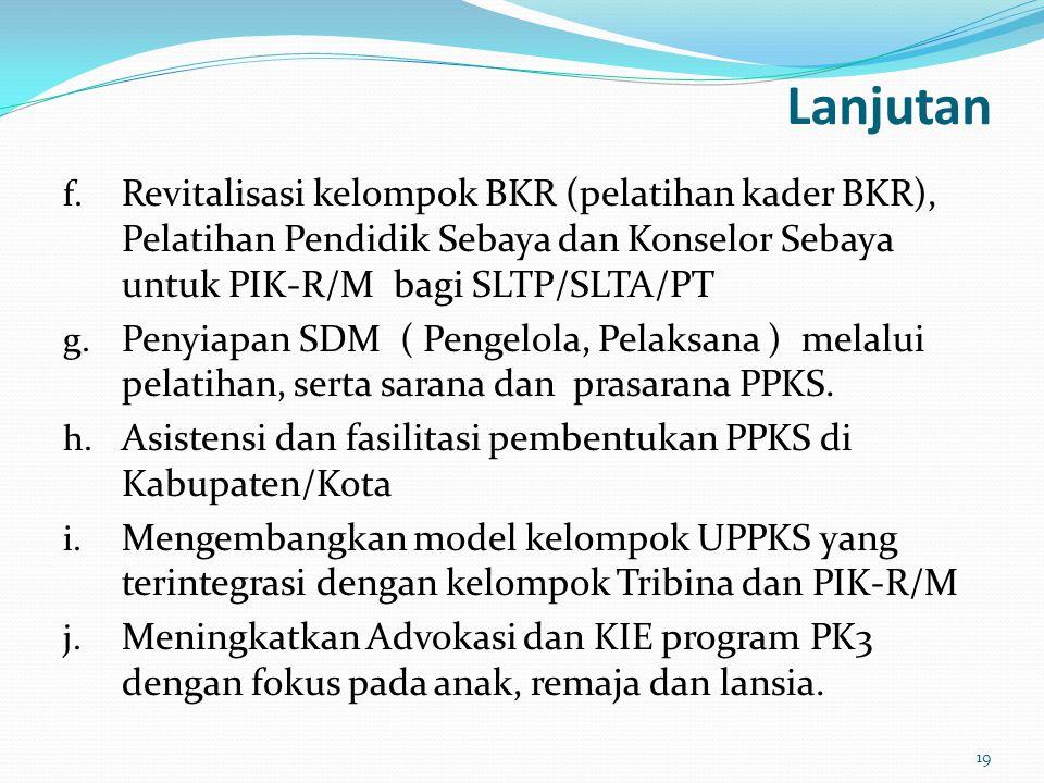 Lanjutan Revitalisasi kelompok BKR (pelatihan kader BKR), Pelatihan Pendidik Sebaya dan Konselor Sebaya untuk PIK-R/M bagi SLTP/SLTA/PT.