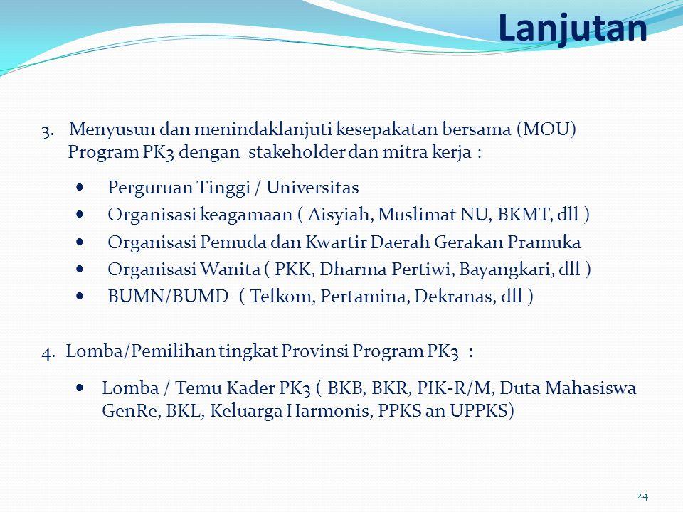 Lanjutan 3. Menyusun dan menindaklanjuti kesepakatan bersama (MOU) Program PK3 dengan stakeholder dan mitra kerja :