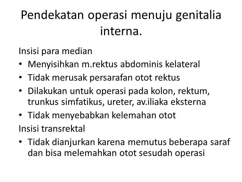 Pendekatan operasi menuju genitalia interna.