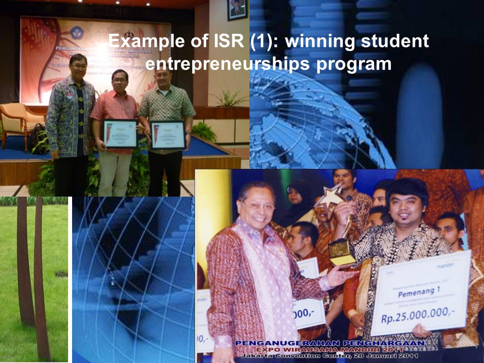 Example of ISR (1): winning student entrepreneurships program