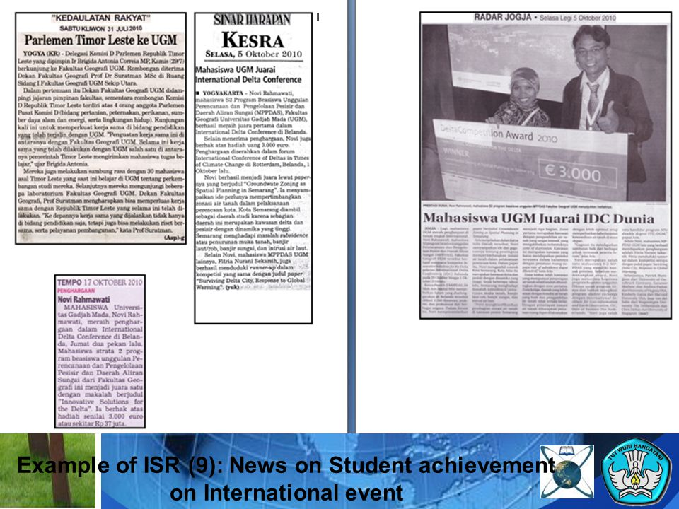 Example of ISR (9): News on Student achievement on International event