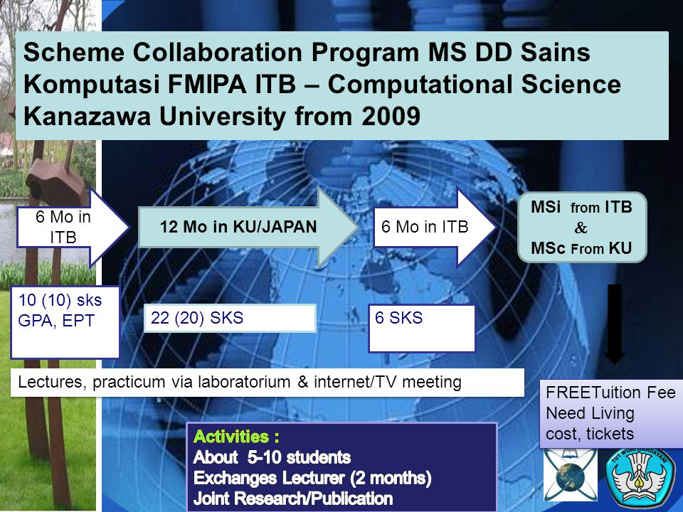 Scheme Collaboration Program MS DD Sains Komputasi FMIPA ITB – Computational Science Kanazawa University from 2009