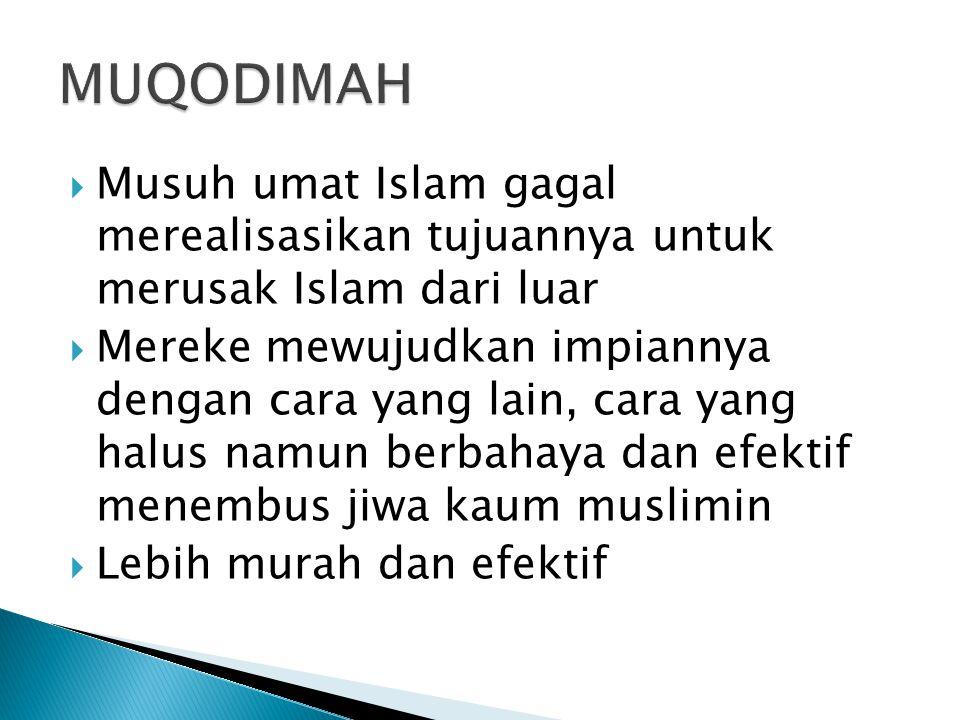 MUQODIMAH Musuh umat Islam gagal merealisasikan tujuannya untuk merusak Islam dari luar.