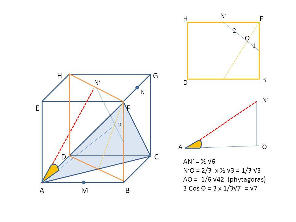 A M B N' H F 2 O 1 B N' D N' A O AN' = ½ √6 N'O = 2/3 x ½ √3 = 1/3 √3