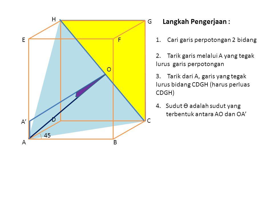 Langkah Pengerjaan : H G E F 1. Cari garis perpotongan 2 bidang