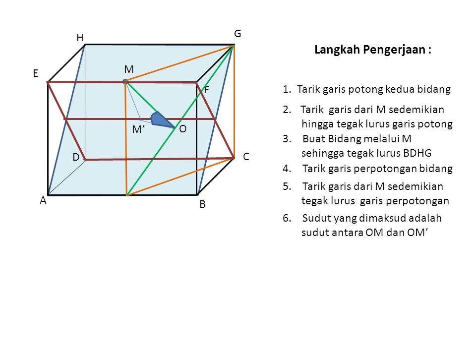 Langkah Pengerjaan : G H M E F 1. Tarik garis potong kedua bidang