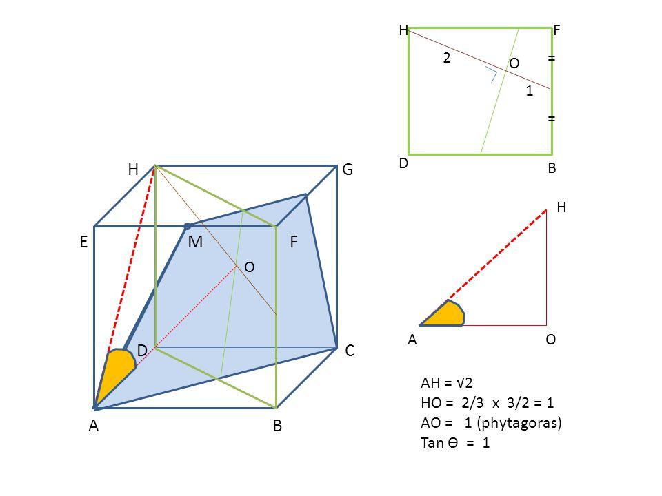 A B H F 2 = O 1 = D B H O A O AH = √2 HO = 2/3 x 3/2 = 1