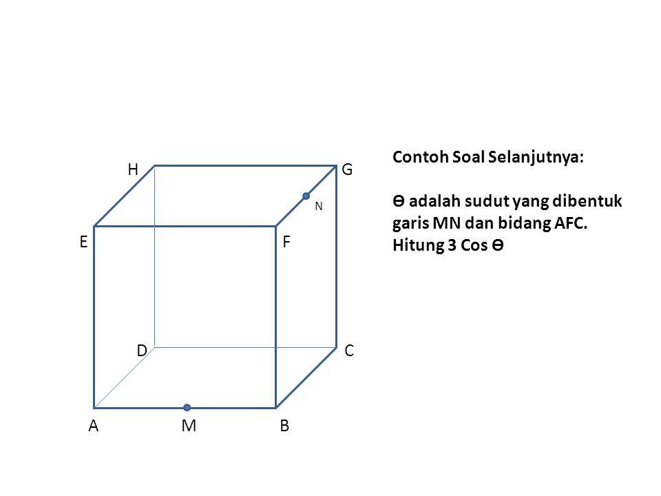Contoh Soal Selanjutnya: Ө adalah sudut yang dibentuk garis MN dan bidang AFC. Hitung 3 Cos Ө