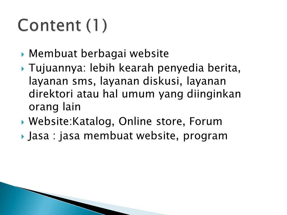 Content (1) Membuat berbagai website