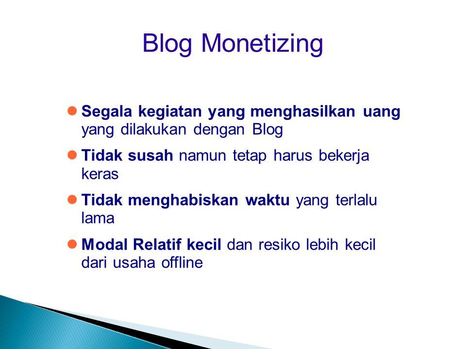 Blog Monetizing Segala kegiatan yang menghasilkan uang yang dilakukan dengan Blog. Tidak susah namun tetap harus bekerja keras.