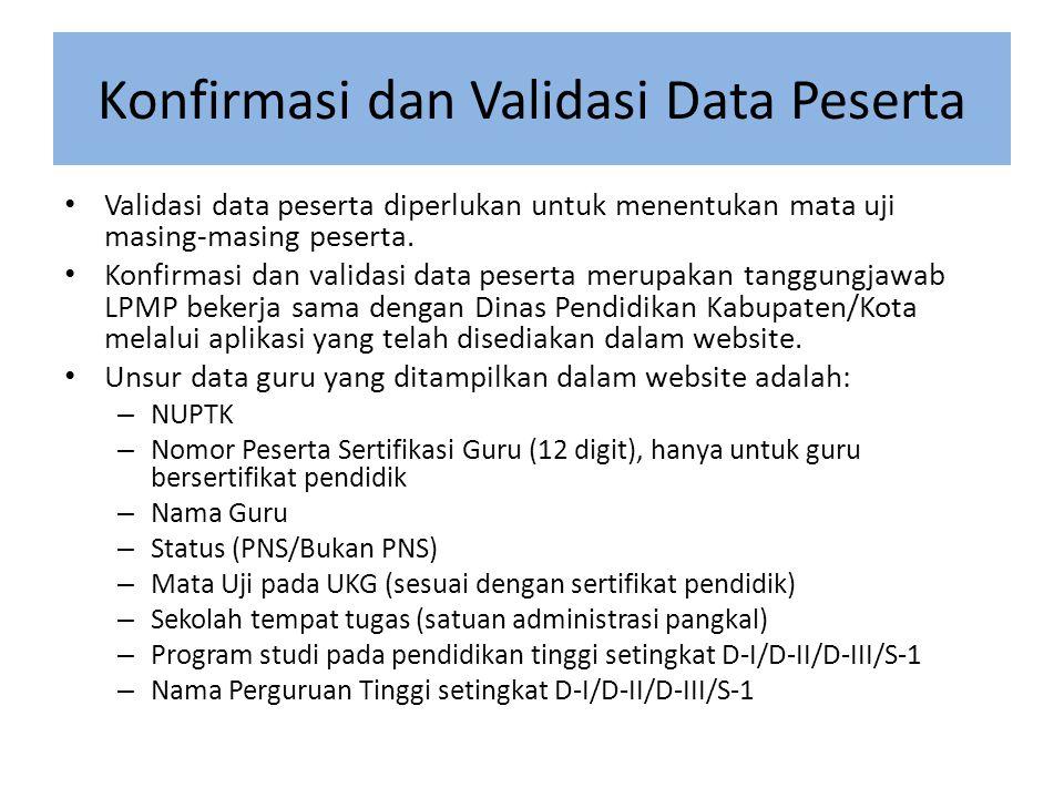 Konfirmasi dan Validasi Data Peserta