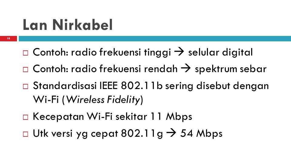 Lan Nirkabel Contoh: radio frekuensi tinggi  selular digital