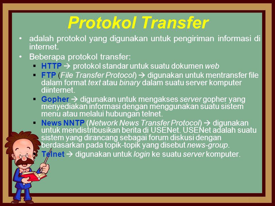 Protokol Transfer adalah protokol yang digunakan untuk pengiriman informasi di internet. Beberapa protokol transfer: