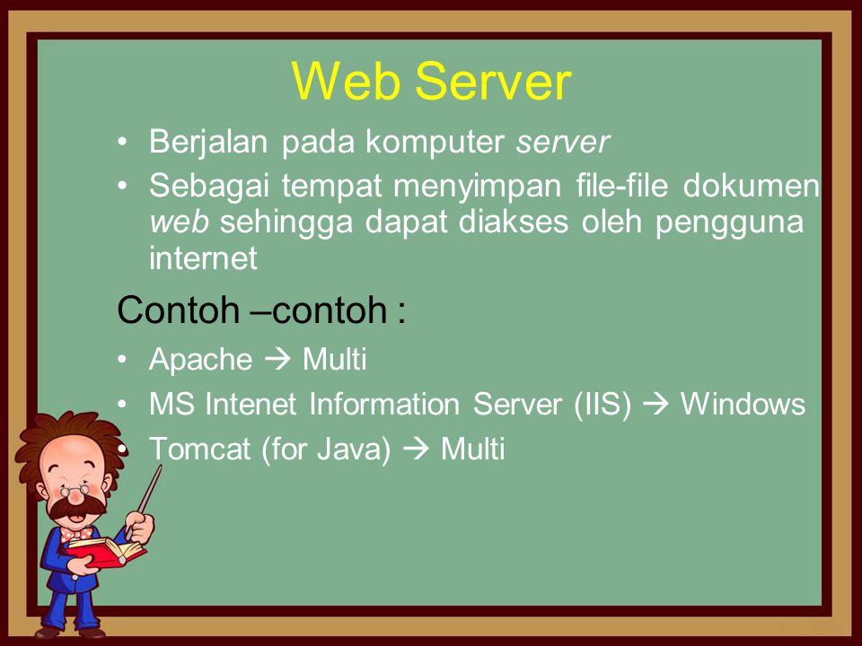 Web Server Contoh –contoh : Berjalan pada komputer server