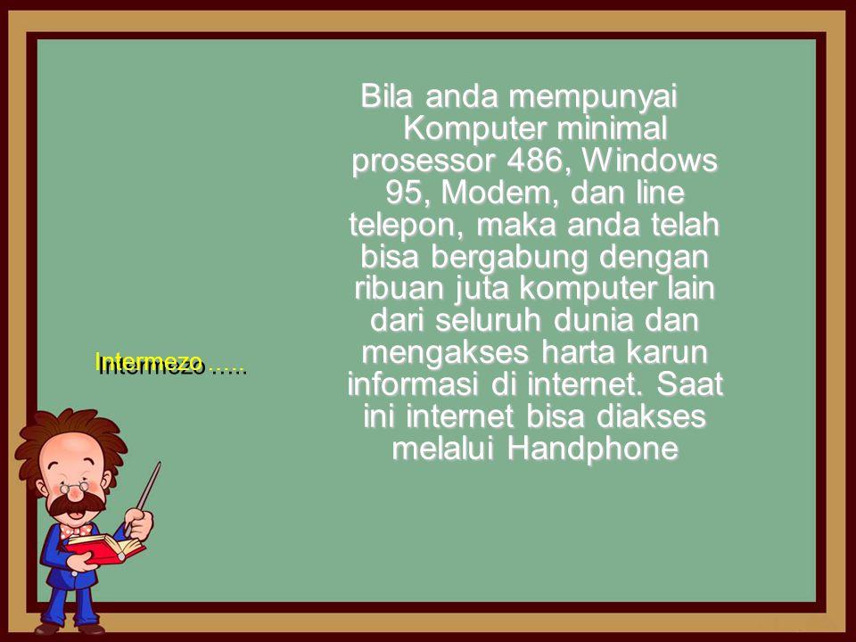 Bila anda mempunyai Komputer minimal prosessor 486, Windows 95, Modem, dan line telepon, maka anda telah bisa bergabung dengan ribuan juta komputer lain dari seluruh dunia dan mengakses harta karun informasi di internet. Saat ini internet bisa diakses melalui Handphone