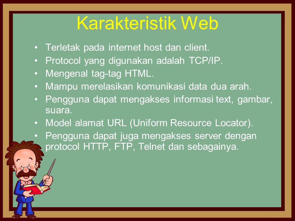 Karakteristik Web Terletak pada internet host dan client.