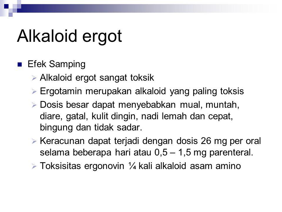 Alkaloid ergot Efek Samping Alkaloid ergot sangat toksik