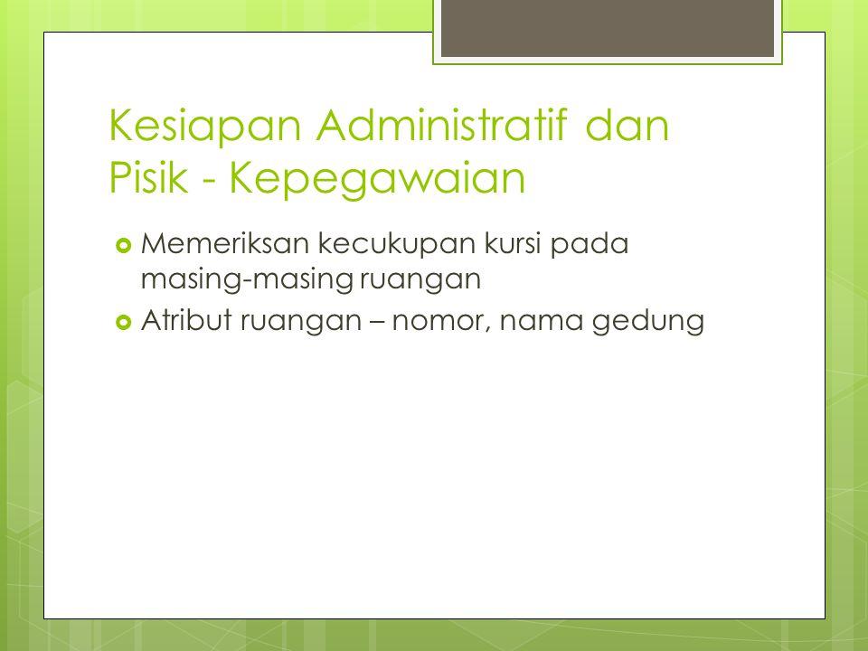 Kesiapan Administratif dan Pisik - Kepegawaian