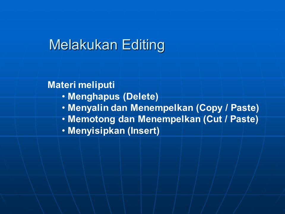 Melakukan Editing Materi meliputi Menghapus (Delete)
