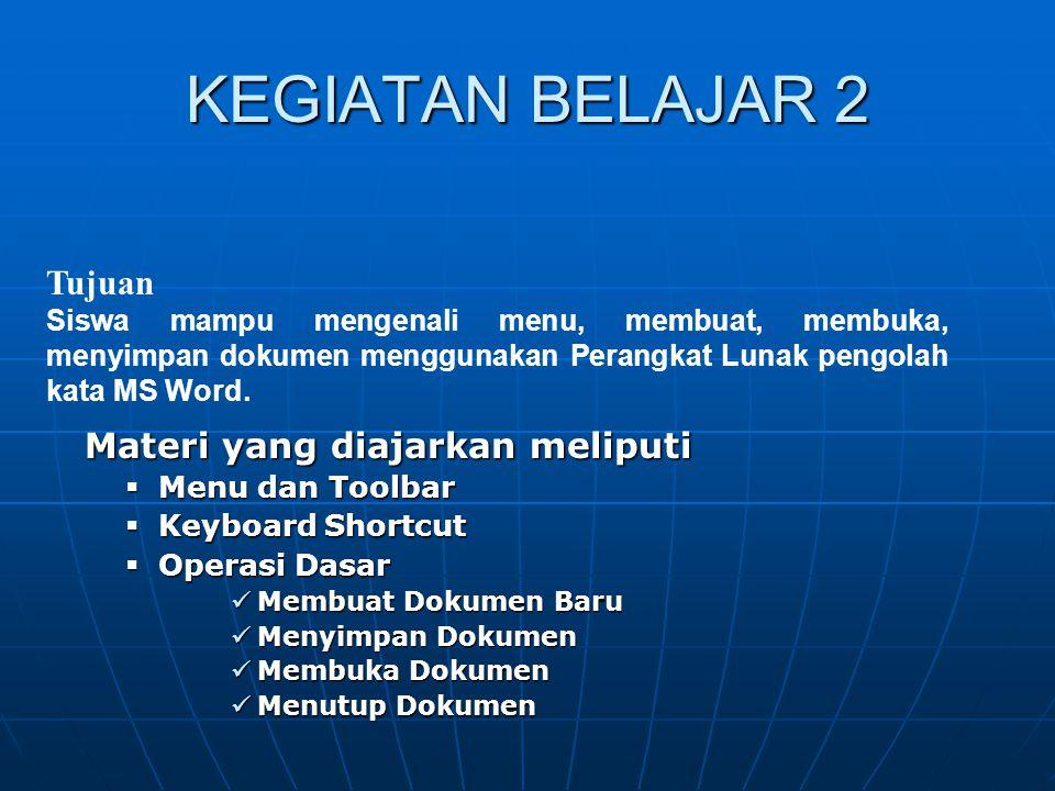 KEGIATAN BELAJAR 2 Tujuan Materi yang diajarkan meliputi