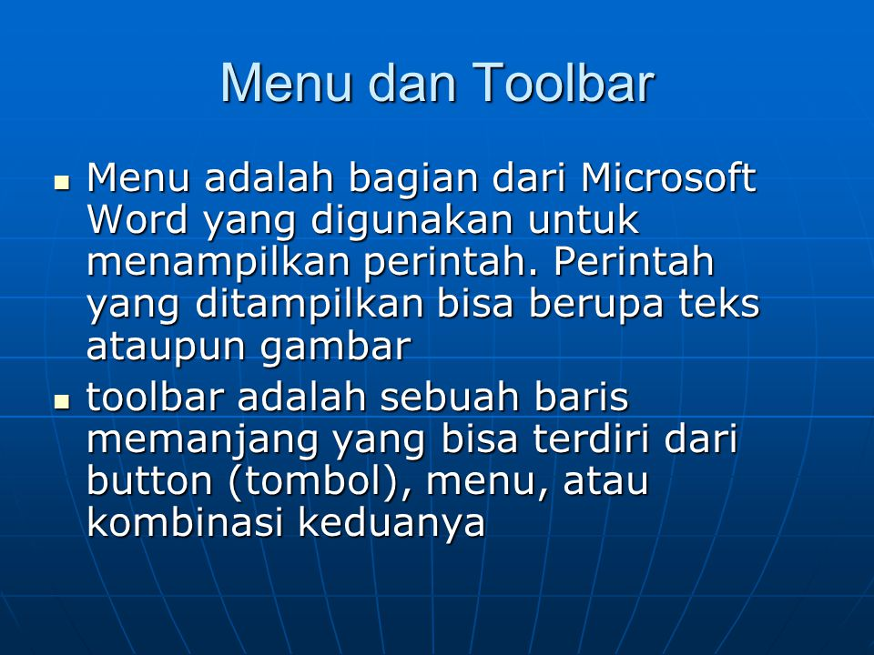 Menu dan Toolbar