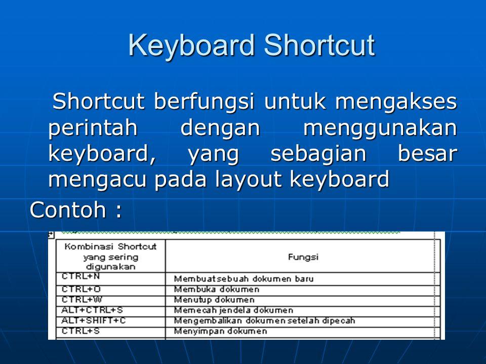 Keyboard Shortcut Shortcut berfungsi untuk mengakses perintah dengan menggunakan keyboard, yang sebagian besar mengacu pada layout keyboard.