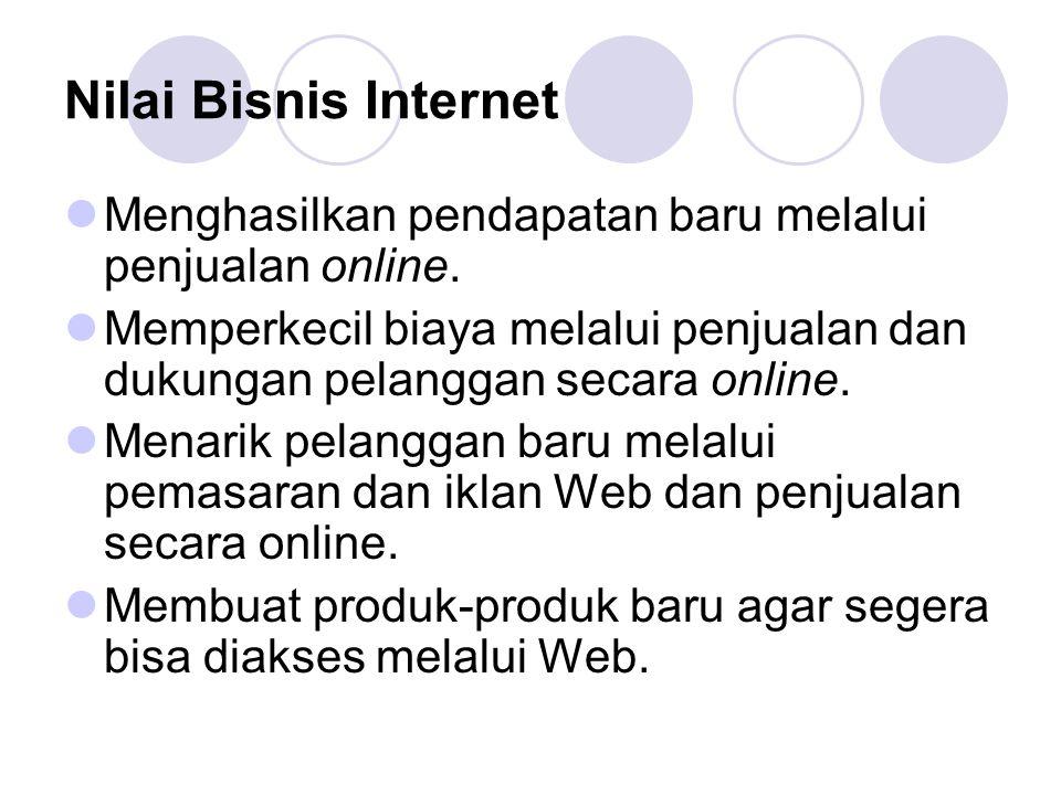 Nilai Bisnis Internet Menghasilkan pendapatan baru melalui penjualan online.