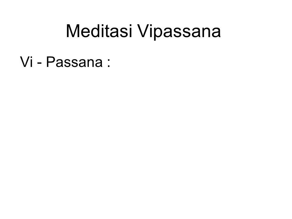 Meditasi Vipassana Vi - Passana : Vi means clearly