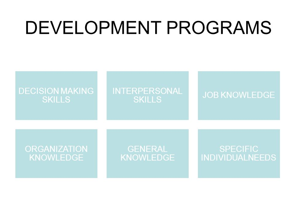 DEVELOPMENT PROGRAMS DECISION MAKING SKILLS INTERPERSONAL SKILLS