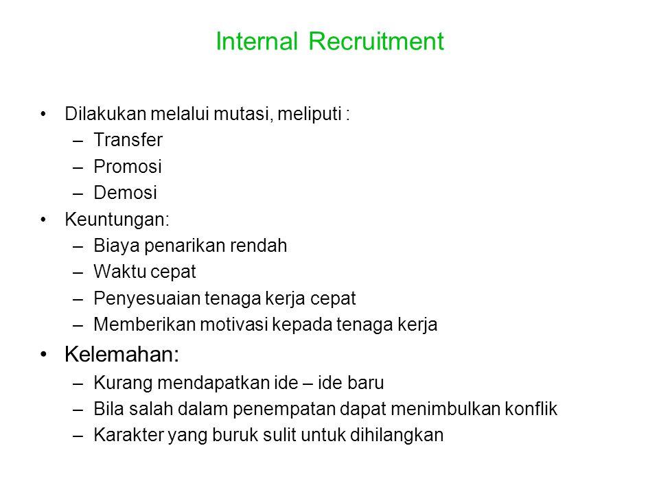Internal Recruitment Kelemahan: Dilakukan melalui mutasi, meliputi :