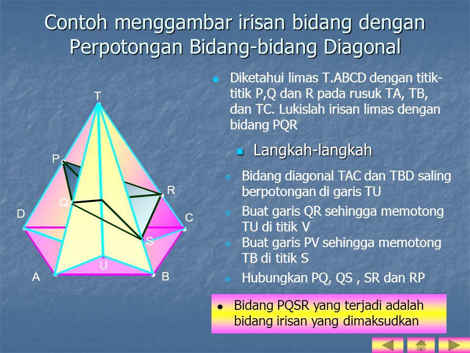 Contoh menggambar irisan bidang dengan Perpotongan Bidang-bidang Diagonal