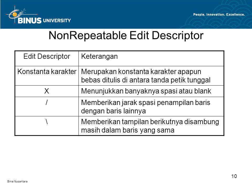 NonRepeatable Edit Descriptor