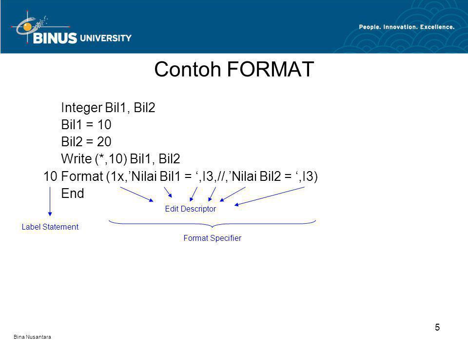 Contoh FORMAT Integer Bil1, Bil2 Bil1 = 10 Bil2 = 20