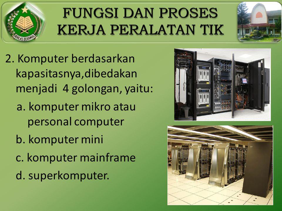 2. Komputer berdasarkan kapasitasnya,dibedakan menjadi 4 golongan, yaitu: a.