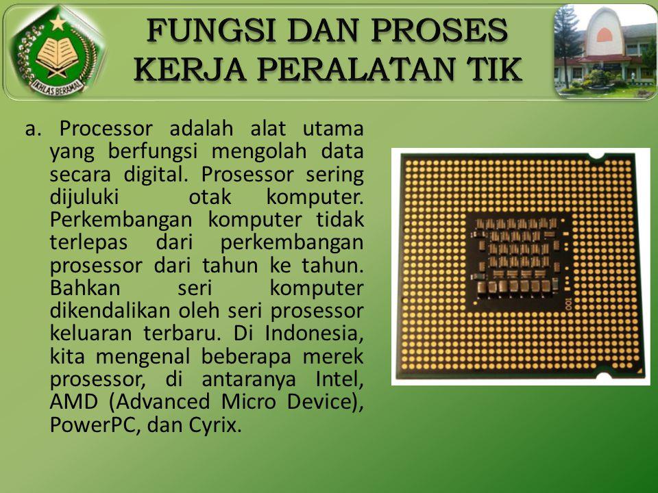 a. Processor adalah alat utama yang berfungsi mengolah data secara digital.
