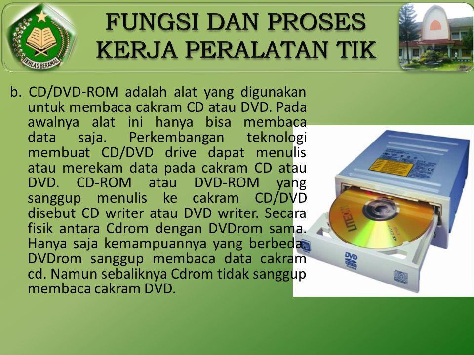 b. CD/DVD-ROM adalah alat yang digunakan untuk membaca cakram CD atau DVD.