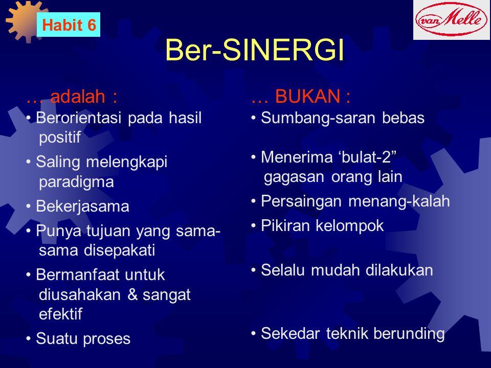 Ber-SINERGI … adalah : … BUKAN : Habit 6 Berorientasi pada hasil