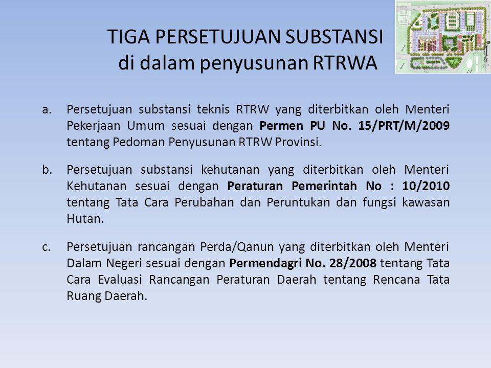 TIGA PERSETUJUAN SUBSTANSI di dalam penyusunan RTRWA