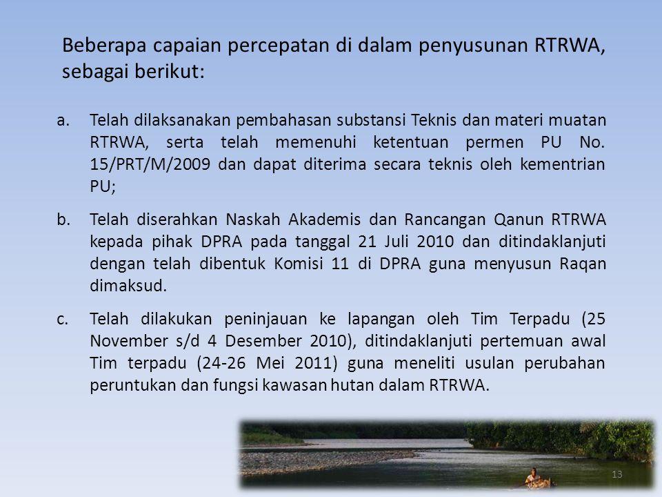 Beberapa capaian percepatan di dalam penyusunan RTRWA, sebagai berikut:
