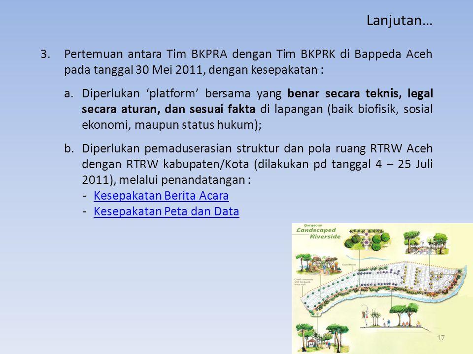 Lanjutan… Pertemuan antara Tim BKPRA dengan Tim BKPRK di Bappeda Aceh pada tanggal 30 Mei 2011, dengan kesepakatan :