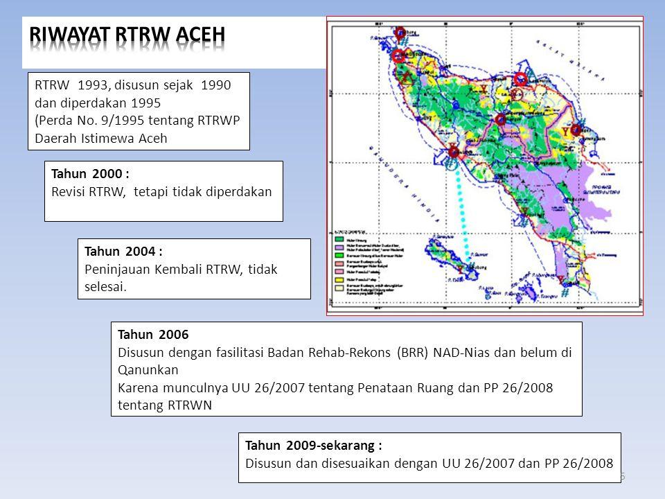RIWAYAT RTRW ACEH RTRW 1993, disusun sejak 1990 dan diperdakan 1995