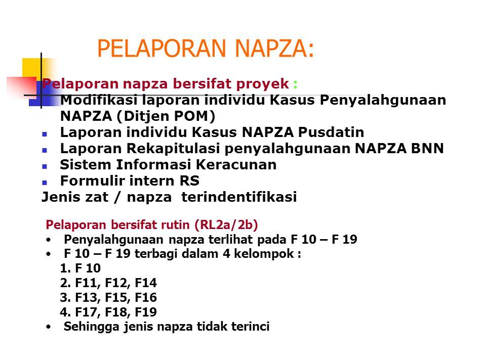PELAPORAN NAPZA: Pelaporan napza bersifat proyek :