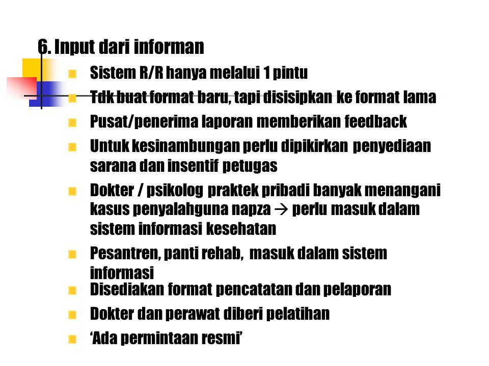 6. Input dari informan Sistem R/R hanya melalui 1 pintu